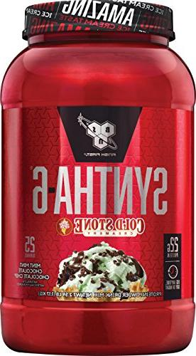 BSN Syntha-6 Powder, Mint Chocolate Chocolate Flavor, Micellar Casein, Protein Isolate Powder, Servings